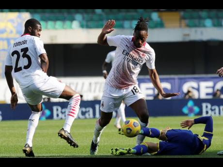 AC Milan' Soualiho Meite goes for the ball during the Serie A match between Hellas Verona and AC Milan, at the Bentegodi Stadium in Verona, Italy, yesterday.