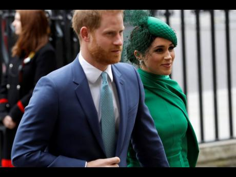 Britain's Harry and Meghan the Duke and Duchess of Sussex arrive to attend the annual Commonwealth Day service at Westminster Abbey in London in March 2020.