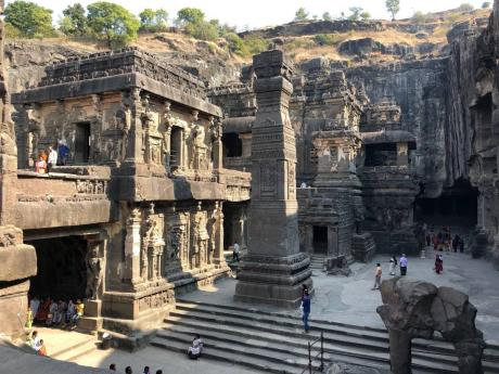 The intricate carvings at Ellora Caves are awe inspiring.