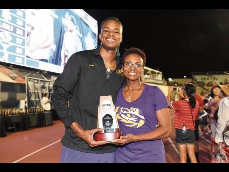 Louisiana State University athlete Juvaughn Harrison and his mother, Jamaican Georgia Harrison.