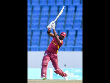 West Indies batsman Darren Bravo in action against Sri Lanka in the third and final One-Day International match played at the Sir Vivian Richards Stadium in St John's, Antigua, yesterday.