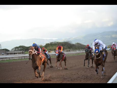 Calculus (left), ridden by Dane Nelson, wins the 27th running of the Sir Howard Stakes, over six furlongs, at Caymanas Park in St Catherine yesterday.