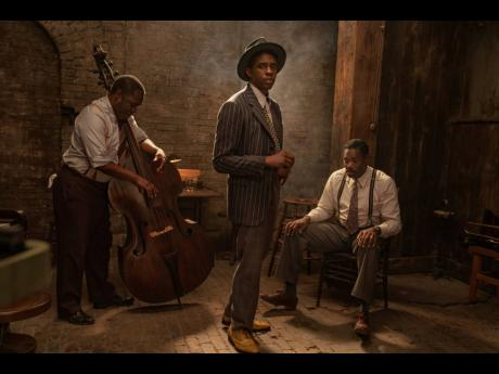 From left: Michael Potts, Chadwick Boseman and Colman Domingo in a scene from 'Ma Rainey's Black Bottom'.