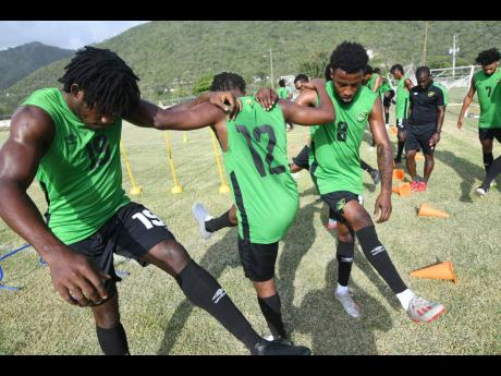 Several members of Jamaica's national senior football team go through a drill at the University of the West Indies/Jamaica Football Federation/Captain Horace Burrell Centre of Excellence on Tuesday, August 27, 2019.