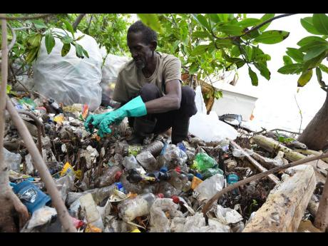 Ransford Henry, a fisherman from Port Royal in east Kingston, picking up plastic bottles that washed up on the shoreline of  Refuge Cay near the Kingston Harbour on Thursday. He was part of a team from Port Royal that boated into the mangroves to help get