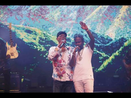 Popcaan (right) performs 'God is Love' with Beres Hammond, at the mega-successful, VP Records and Harmony House-produced 'Love From a Distance' virtual concert to close Reggae Month 2021.
