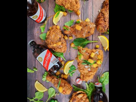 Red Stripe beer is mixed in the batter and sauce of this tasty creation.