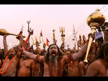 Naga Sadhu (holy men) at the Kumbh Mela at Sangam in the northern Indian city of Prayagraj.