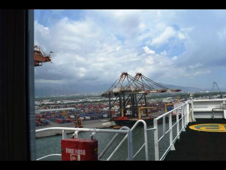 The Kingston cargo port as viewed from a ship in the harbour.