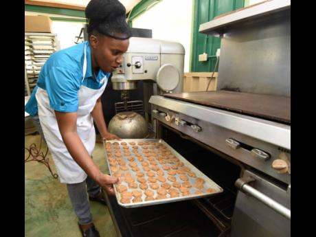 Karlene Johnson puts a batch of her breadfruit cookies into the oven.