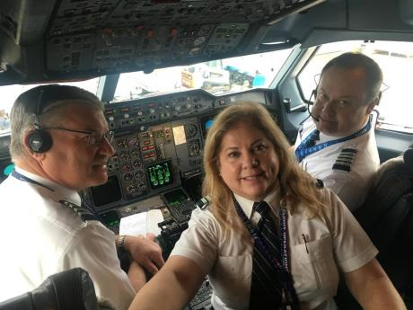 From left: FedEx captains Tom Gregory, Muriel Zarlingo and Trey Hollingsworth.