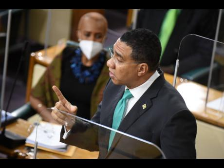 Prime Minister Andrew Holness making his contribution at the 2021 Budget Debate in the Parliament. There are concerns being raised on the amended Disaster Risk Management Act that gives the prime minister the power, without any parliamentary approval what