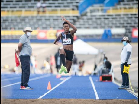 Shanieka Ricketts competes in the senior women's triple jump event at the JAAA Qualification Trials 3.6 held at The National Stadium on Saturday, March 13, 2021.