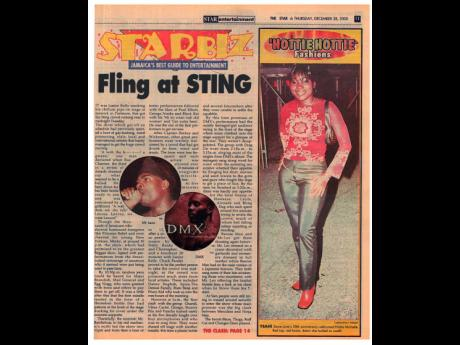 'Fling at Sting' was THE STAR headline for December 28, 2000, following DMX's Sting performance.