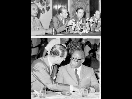 HRH Prince Philip, Duke of Edinburgh (second left, top photo) speaking at a press briefing shortly after declaring open the RASC Conference. Others (from left) are Courtney Fletcher, president of the Jamaica Agricultural Society; James Thomas, a member of