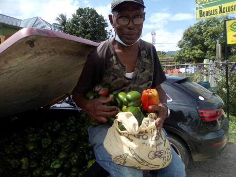St Catherine resident Glenford Graham with his produce. Graham decided to turn to farming after his catering business slowed down due to the COVID-19 pandemic. He is happy about this decision and is reaping rewards.