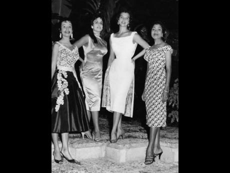 Four of Jamaica's beauties are seen together in December 1956 at cocktail party given by the managing committee of the Miss Jamaica 1957 beauty contest at the Manor House Hotel. They are (from left) Elizabeth Fraser, Tony Verity, Marlene Milnes-Fenton an