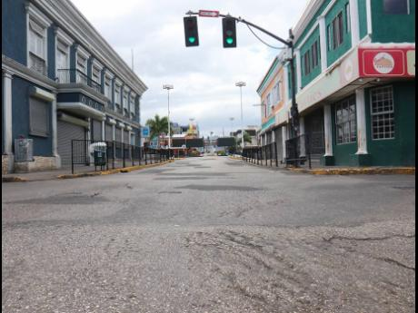 An eerily empty St James Street in Montego Bay during the coronavirus lockdown on Sunday, March 28.