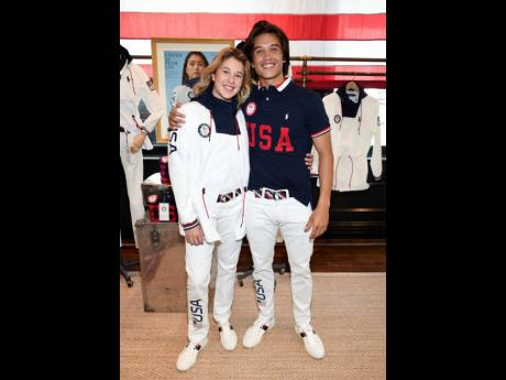 Skateboarders Jordyn Barratt (left) and Heimana Reynolds show their Team USA Tokyo Olympic closing-ceremony outfits. Ralph Lauren is an official outfitter of the 2021 US Olympic team.