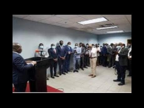 Prime Minister Claude Joseph addressing stakeholders at National Palace in Port-au-Prince on Thursday.