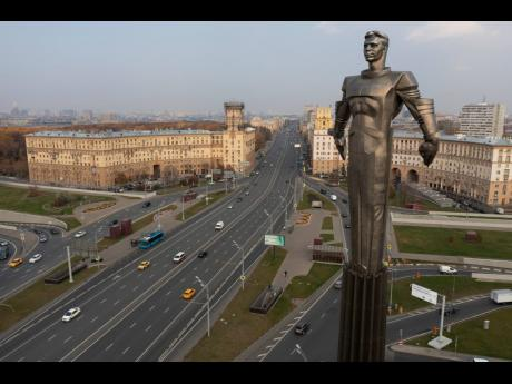 A 42-metre (138-feet) high and 12 ton (26,455 pounds) monument built in 1980 of Yuri Gagarin, the first person who flew to space, became a Moscow landmark. Gagarin's statue standing on a pedestal made to resemble a rocket exhaust is made of titanium.