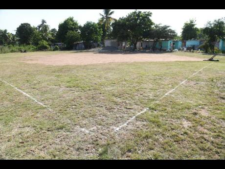 The field where former national footballer Tremaine Stewart collapsed during a game in Gordon Pen, Spanish Town, on Sunday morning.
