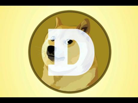 The logo for dogecoin.