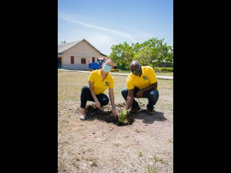 Felix Whyte, senior accountant and director at ESL, with colleague Theresa Rodriguez-Moodie, a director and manager at the consultancy firm, during a recent tree planting activity.