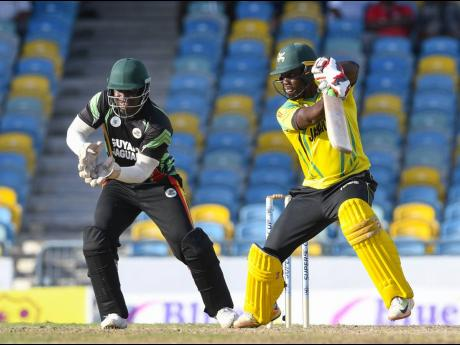 Jamaican batsman Nkrumah Bonner hits a four during a semi-final match of the Super50 Cup between Guyana Jaguars and Jamaica Scorpions on Thursday, October 25, 2018, at Kensington Oval in Barbados.