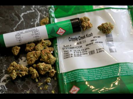 The THC percentages of recreational marijuana are visible on the product packaging sitting on a countertop on Monday, April 19, in Mamaroneck, New York.