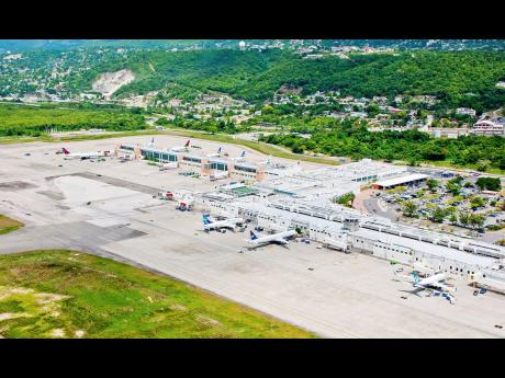 The runway at Sangster International Airport in Montego Bay, Jamaica, the Caribbean's largest airport.