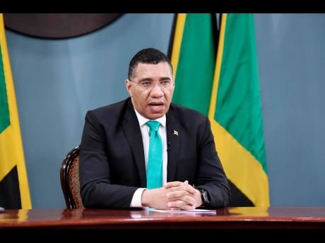 Prime Minister Andrew Holness addressing a virtual global summit on climate change on Thursday. Holness challenged world leaders to support the establishment of a global disaster fund to help small island developing states recover.
