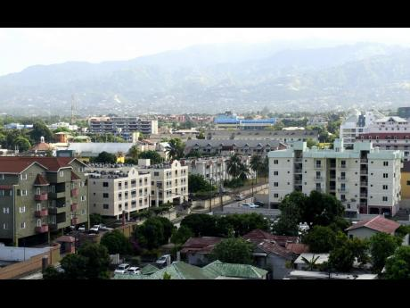 An aerial view of New Kingston. Over the years, older houses and structures have been torn down to give way to multi level apartment complexes.