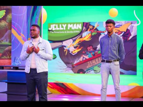 Shaquille Crosse (left) and Chevardi Gray pitch for animated series, 'Jelly Man Adventures'.