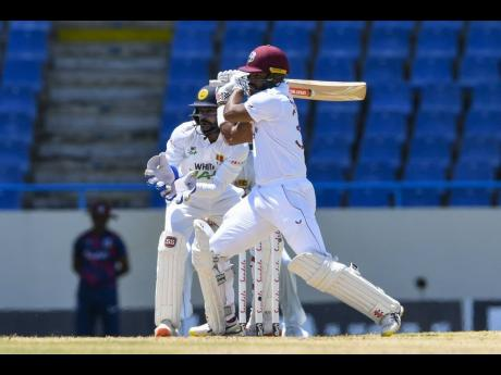West Indies opener John Campbell in action against Sri Lanka during their recent home Test at the Sir Vivian Richards Stadium in North Sound, Antigua.