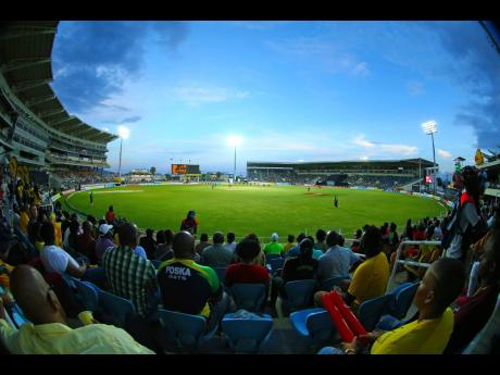 Fans watch the Jamaica Tallawahs take on St Kitts and Nevis Patriots from the North Stand at Sabina Park during the 2018 Hero Caribbean Premier League tournament.