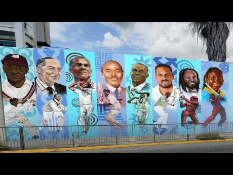 A digital image depicting one section of the wall at Sabina Park, Kingston where 10 Jamaican cricket icons will be honoured.