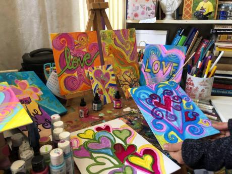 Artwork made by Deirdre Freeman is seen in her studio in Alameda, California.
