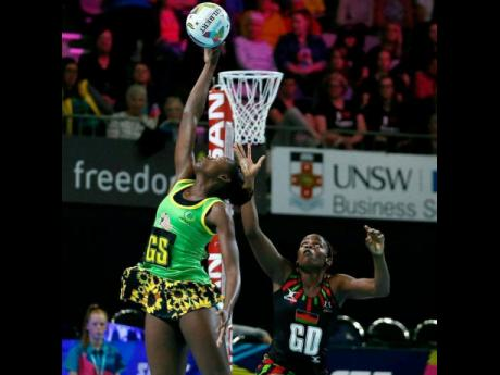 Jamaica's goalshooter Shanice Beckford in action against Malawi during the Fast5 Netball World Series in October 2017.
