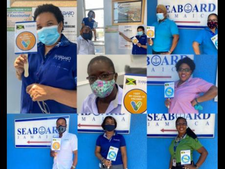 We got the vaccine! Members of staff of Seaboard Marine proudly pose after getting their first vaccination against the COVID-19 virus.