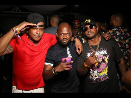 Providing the Bawd Behaviour fix for the party are (at left) Back to Basics (DJ from USA/Trinidad and Tobago); Dwayne Dacres, event promoter for Milk and Honey; and Daybreak and Tony X (USA and Trinidad DJ).