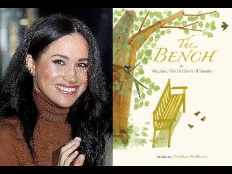 This combination photo shows Meghan, Duchess of Sussex, and the cover art for her upcoming children's book 'The Bench'. The book will be published on June 8.