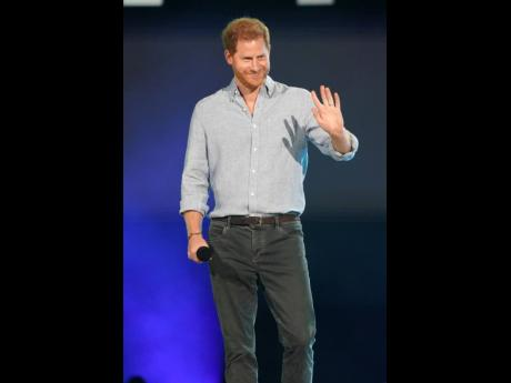 Prince Harry, Duke of Sussex, speaks at 'Vax Live: The Concert to Reunite the World' on Sunday at SoFi Stadium in Inglewood, California.