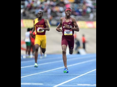 Holmwood Technical High School's Taj Ham wins the Class Two Boys' 400m final at the ISSA/GraceKennedy Boys and Girls' Athletics Championships at the National Stadium on Saturday, March 30, 2019.