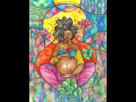 Sanctuary - This painting was done alongside a series of letters that I was writing to my unborn son while I was preparing for his birth. It is a meditation on the intensity of the third trimester of pregnancy, the need for peace and grounding that comes i