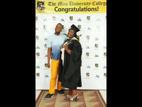 Jacqueline Hendricks and her son Jordhane Johnson at her graduation from The Mico University College.