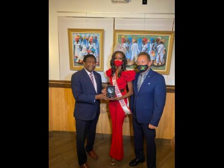 From left: Mayor of Broward County Dale V.C. Holness, Miss Universe Jamaica 2020 Miqueal-Symone Williams and Oliver Mair, Jamaica's consul general to Miami, at a meet-and-greet welcome reception hosted at Island Space Caribbean Museum in Westfield Broward