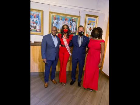 From left: Dr Allan Cunningham, the Jamaican Diaspora Council representative for Southeast USA; Miss Universe Jamaica 2020 Miqueal-Symone Williams; Jamaica's Consul General to Miami Oliver Mair; and popular actress and public speaker Andrea 'Delcita' Wrigh