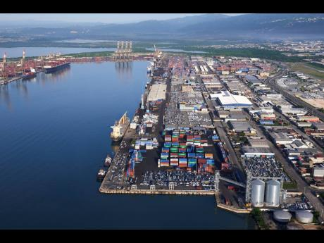 An aerial view of the wharves in Kingston.