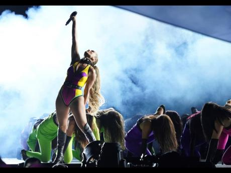 Jennifer Lopez performs at 'Vax Live: The Concert to Reunite the World', on Sunday, at SoFi Stadium in Inglewood, California.